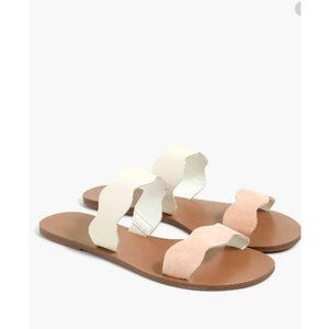 J.Crew Factory Suede Scalloped Slide Sandals